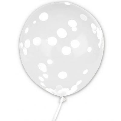 Ballon transparent avec confettis blanc 45cm (x6) REF/BALCTBA