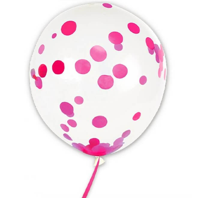 Ballon transparent avec confettis fuchsia en latex