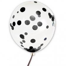 Ballon transparent avec confettis noir 45cm (x6) REF/BALCTN