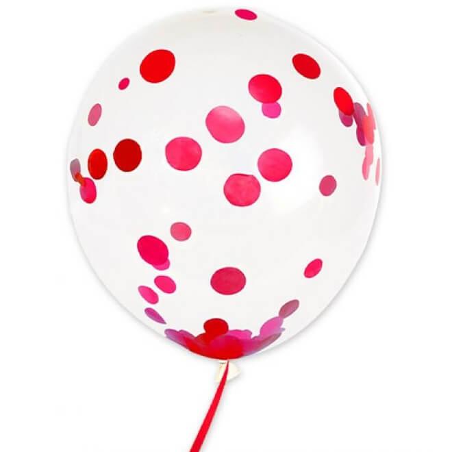 Ballon transparent avec confettis rouge en latex