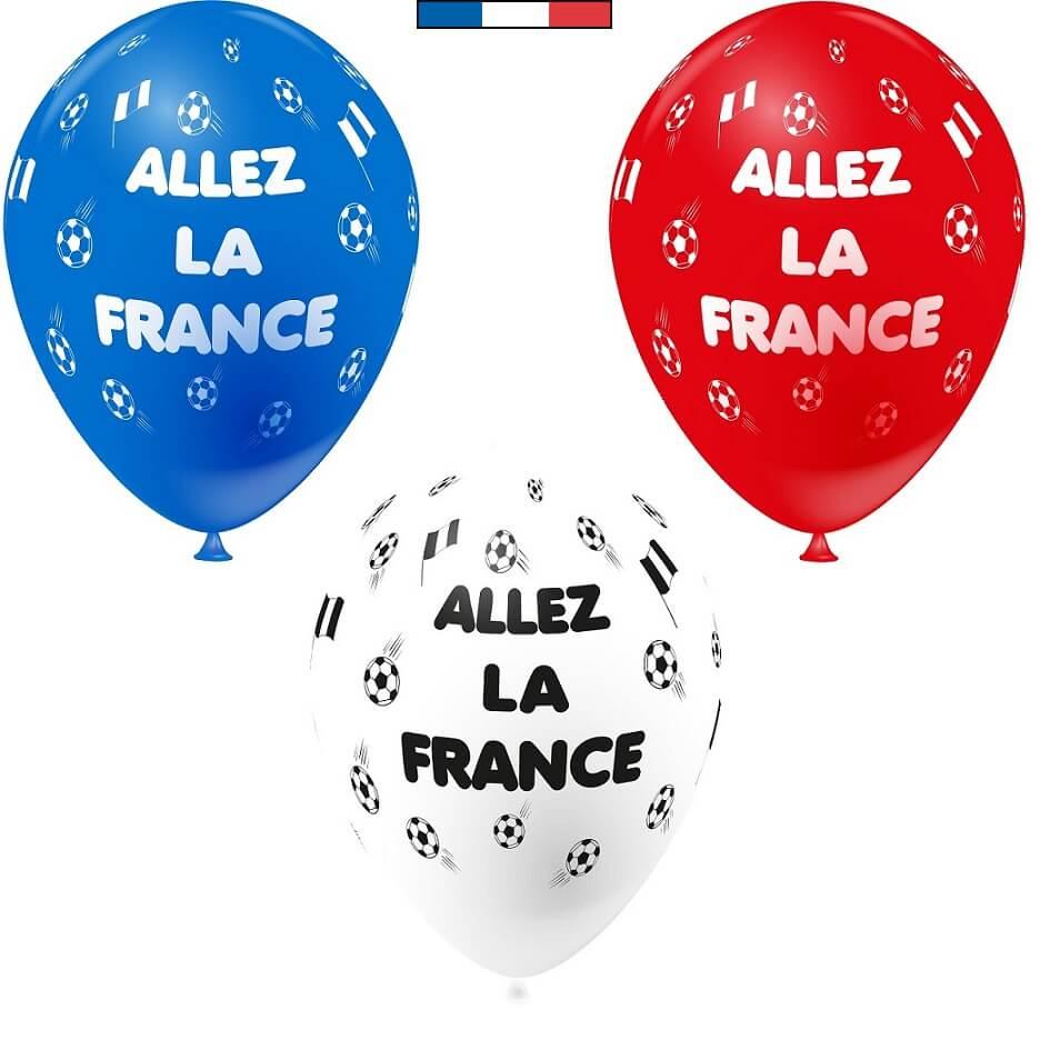 Ballon tricolore foot en latex de fabrication francaise