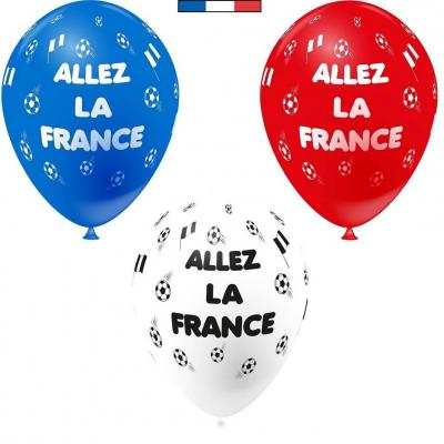 Ballon français football France tricolore en latex 30cm (x6) REF/45901
