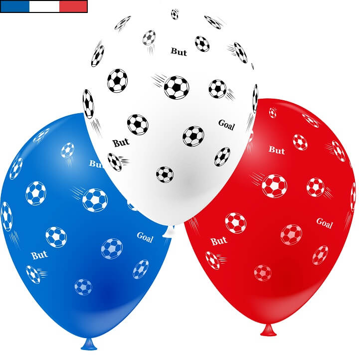 Ballon tricolore football en latex de fabrication francaise