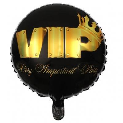 Ballon VIP noir et or en aluminium de 45cm (x1) REF/6686