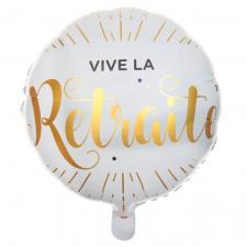 Ballon vive la retraite aluminium blanc et or (x1) REF/6239