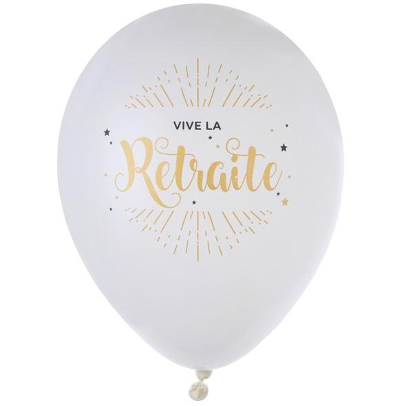 Ballon vive la retraite blanc et or metallise en latex
