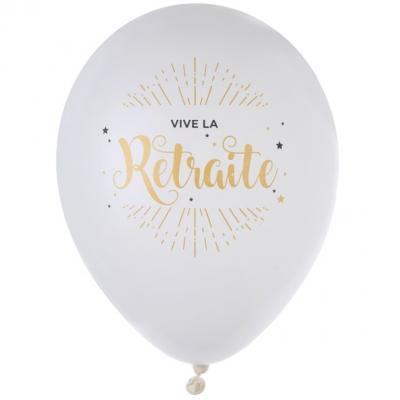Ballon vive la retraite blanc et or (x8) REF/5661