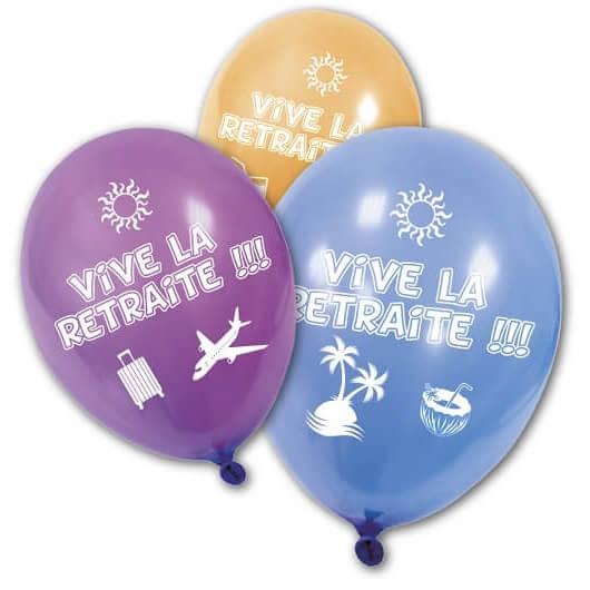 Ballon vive la retraite en latex multicolore