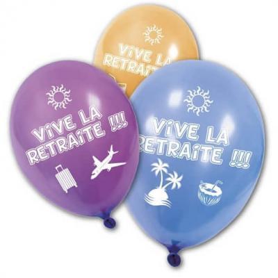 Ballon vive la retraite multicolore en latex (x8) REF/BA1460