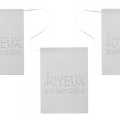Banderole joyeux anniversaire blanche (x1) REF/4013