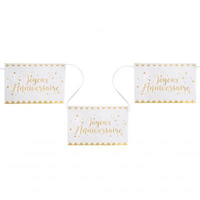 Banderole joyeux anniversaire blanche et or 5m (x1) REF/5666