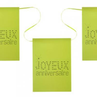 Banderole joyeux anniversaire verte (x1) REF/4013