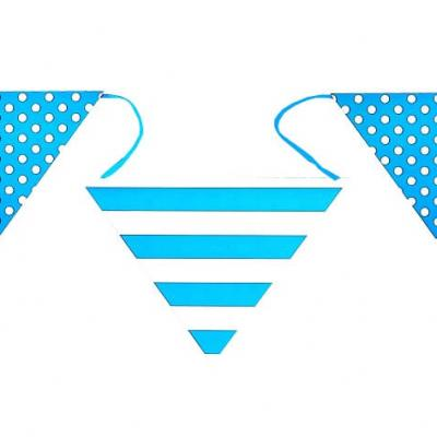 Banderole bleu turquoise rayures et pois (x1) REF/4326