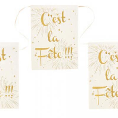 Banderole c'est la fête ivoire (x1) REF/4633