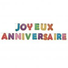 Banderole Joyeux Anniversaire multicolore avec lettres de 6m (x1) REF/7228