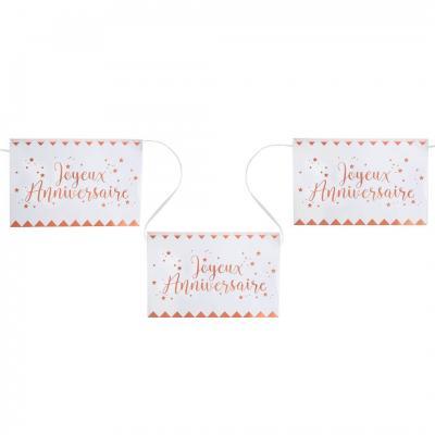 Banderole joyeux anniversaire rose gold et blanche 5m (x1) REF/5666