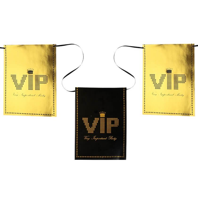 Banderole vip noir et or metallique