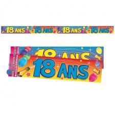 Bannière anniversaire 18ans multicolore 2.44m (x1) REF/BAN02