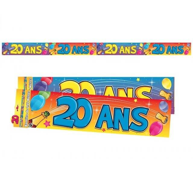 Banniere anniversaire 20ans multicolore