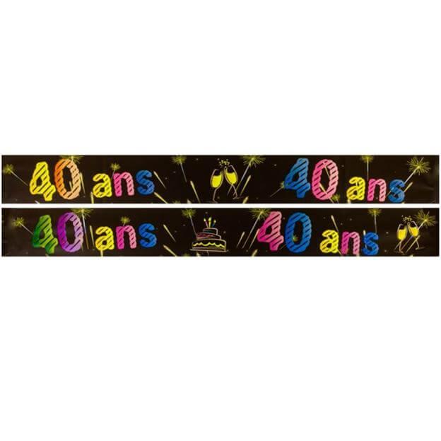 Banniere anniversaire 40 ans noir et multicolore
