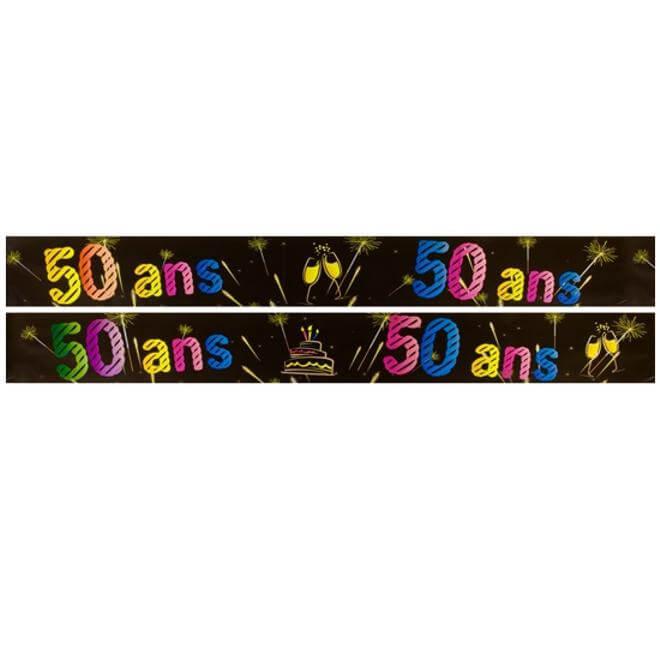 Banniere anniversaire 50 ans noir et multicolore