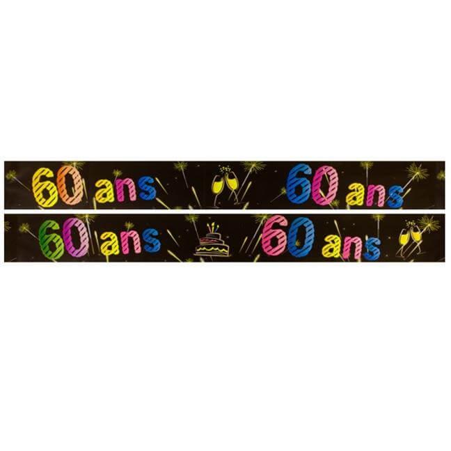 Banniere anniversaire 60 ans noir et multicolore