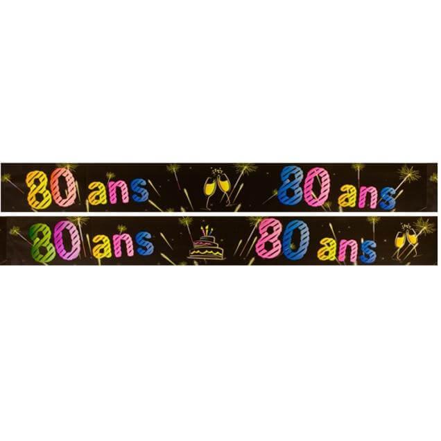 Banniere anniversaire 80 ans noir et multicolore