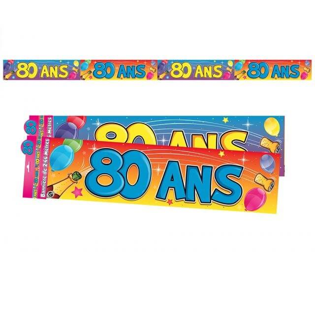 Banniere anniversaire 80ans multicolore