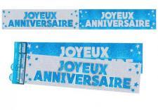 Bannière anniversaire pailletée: Bleu turquoise et blanc (x1) REF/BANP00B