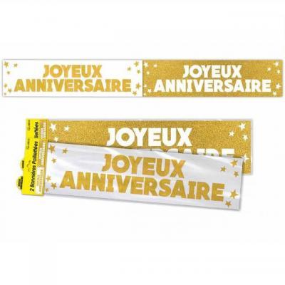 Bannière anniversaire pailletée: Or (x1) REF/BANP00OR