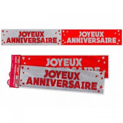 Bannière anniversaire pailletée: Rouge (x1) REF/BANP00RP
