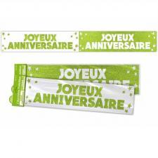 Bannière anniversaire pailletée: Vert (x1) REF/BANP00V
