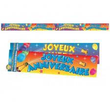 Bannière joyeux anniversaire multicolore 2.44m (x1) REF/BAN01