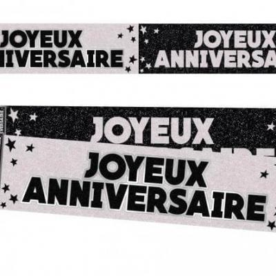 Bannière anniversaire pailletée: Noir et blanc (x1) REF/BANP00N
