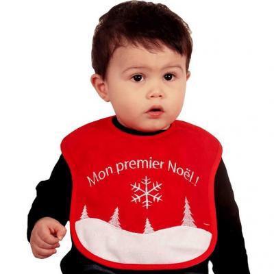 Bavoir bébé rouge et blanc Mon premier Noël (x1) REF/NEUN415