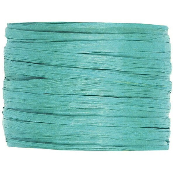 Bobine de papier raphia bleu turquoise pour decoration