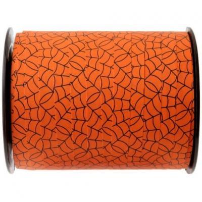 Bobine de ruban bolduc Halloween orange toile d'araignée 10mm x 50m (x1) REF/3996