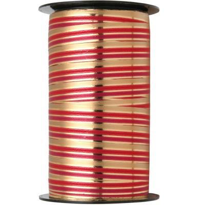 Bobine ruban bolduc chic de Noël rouge et or métallique (x1) REF/7468