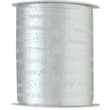 Bobine ruban bolduc joyeux anniversaire argent métallique 25m x 10mm (x1) REF/6774
