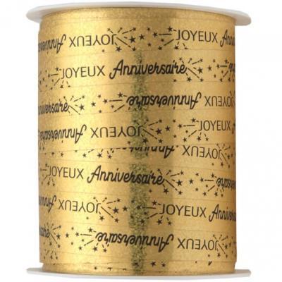 Bobine ruban bolduc joyeux anniversaire or métallique 25m x 10mm (x1) REF/6774