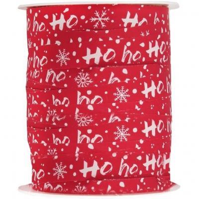 Bobine ruban Bolduc Noël rouge et blanc Ho Ho Ho ! 10mm x 25m (x1) REF/7202