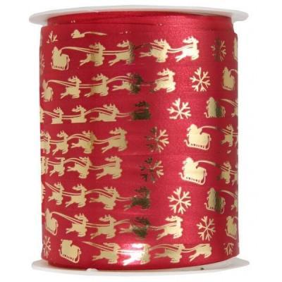 Bobine ruban Bolduc Noël rouge et doré métallisé 10mm x 25m (x1) REF/7203