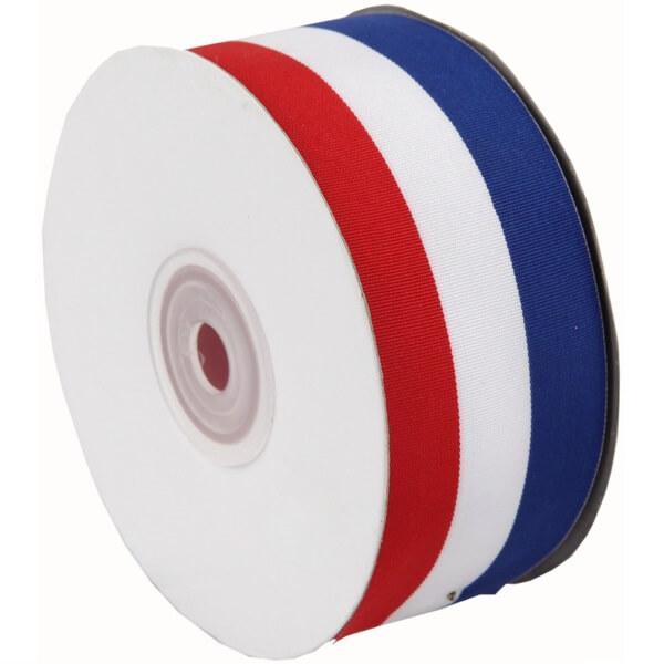 Bobine ruban tricolore bleu blanc et rouge 25mm de largeur x 25metres de longueur