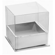 Boîte carrée argent et transparent (x4) REF/70098