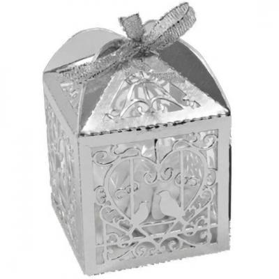 Contenant boîte mariage argent métallique avec colombes et coeur (x10) REF/CTU103