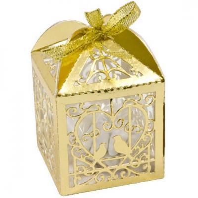 Contenant boîte mariage or métallique avec colombes et coeur (x10) REF/CTU103