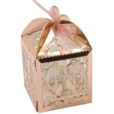 Contenant boîte mariage rose gold métallique avec colombes et coeur (x10) REF/CTU103