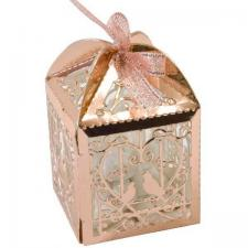 Boite a dragee mariage cage colombes et coeur rose gold