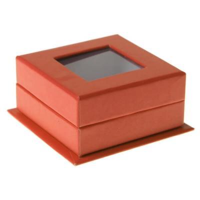 Boîte carrée orange avec fenêtre (x4) REF/70213