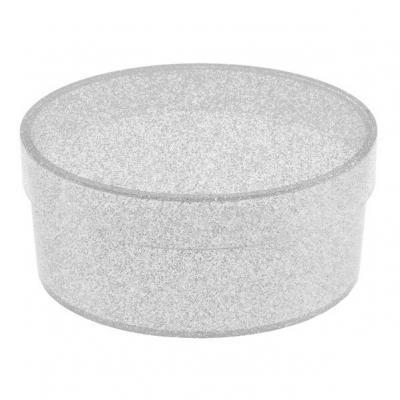 Boîte ovale pailletée argent (x1) REF/4706
